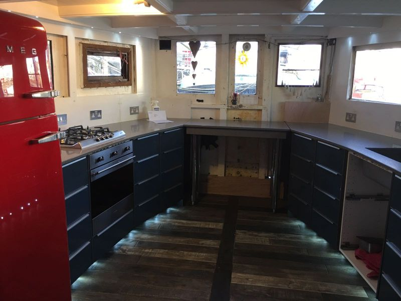 Grigio Stellar Silestone Worktops fitted on a boat  Gallery